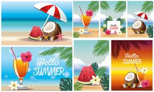 西瓜與椰子等夏日插畫創意矢量素材
