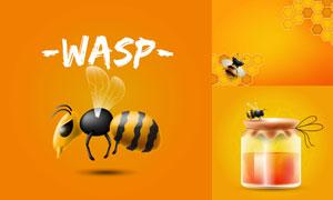 蜜蜂與瓶裝的蜂蜜主題設計矢量素材