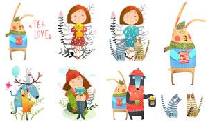 女孩與動物等插畫創意設計矢量素材