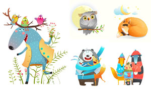 小鳥貓頭鷹與狐貍等插畫設計矢量圖