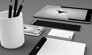 手机铅笔与封套等样机元素设计素材