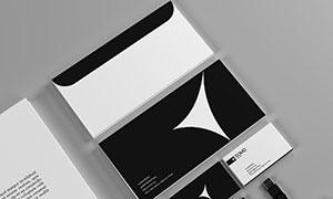 商务信封与名片正反面效果贴图模板