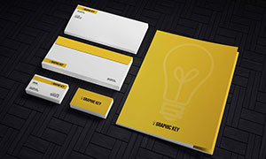 信封名片与画册等展示效果模板素材