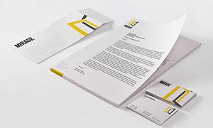 質感效果信封名片與紙張等樣機模板