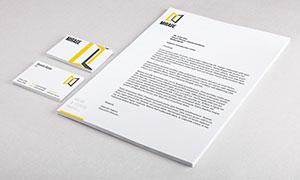 信紙紙張與信封側視圖樣機模板素材