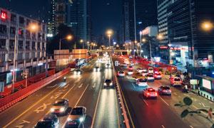 车来车往的大城市夜景摄影高清图片