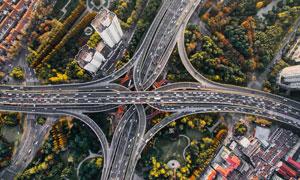 城市高架路网交通枢纽摄影高清图片
