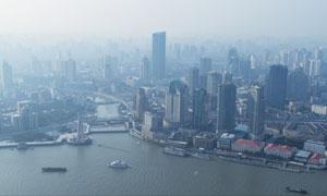 黃浦江西岸建筑群風光攝影高清圖片
