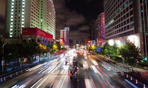 城市建筑与繁忙的交通摄影高清图片
