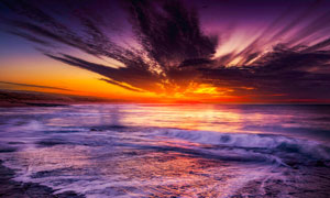 日落晚霞海景自然风光摄影高清图片
