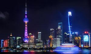 浦东建筑群炫丽灯光秀摄影高清图片