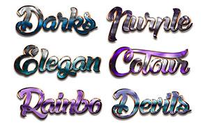 10款时尚绚丽的金属字设计PS样式