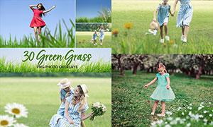 中文版照片添加綠色草叢合成特效PS動作