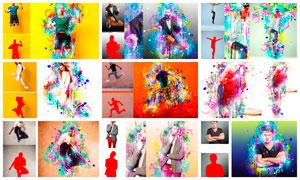 彩色液體噴濺背景效果PS動作