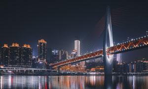 重庆千厮门嘉陵江大桥夜景摄影图片