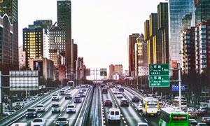 北京建国门桥周边建筑物等高清图片
