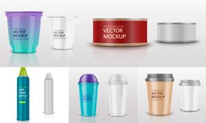 多種產品的包裝效果主題設計矢量圖