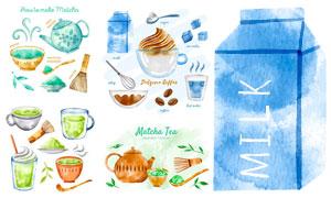 牛奶咖啡与抹茶等水彩创意矢量素材
