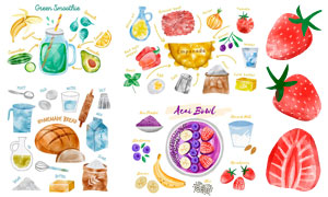 面包水果与果汁等水彩创意矢量素材