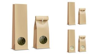 帶透明窗的包裝袋主題設計矢量素材