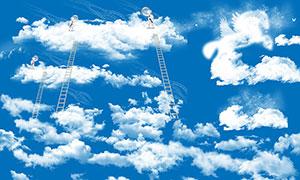 天空中的白云和云朵PSD分层素材