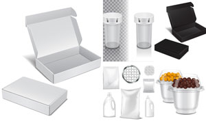 包裝盒與產品包裝袋等設計矢量素材