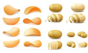 马铃薯与爽脆薯片主题设计矢量素材