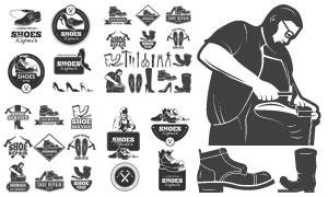 修鞋铺标志与修鞋匠人物等矢量素材