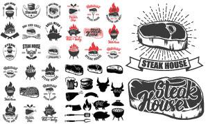 牛排与烧烤等黑白效果标志矢量素材