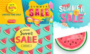 西瓜拖鞋元素夏日促销海报矢量素材