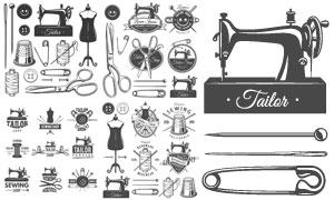纽扣与剪刀等针线缝纫用品矢量素材