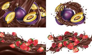 被巧克力酱裹挟着的水果创意矢量图