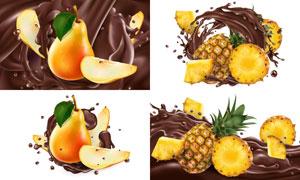 加入了梨与菠萝的巧克力酱矢量素材