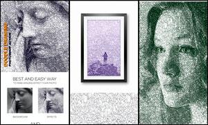 抽象图案纹理组成的人像特效PS动作