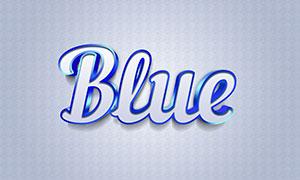蓝色质感金属字设计模板分层源文件