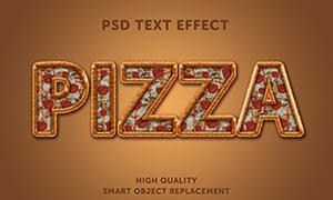 披萨纹理图案装饰的立体字模板素材