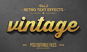复古风格金色立体字设计分层源文件