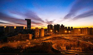 北京健翔桥傍晚美丽风光摄影图片