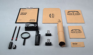 铅笔放大镜与牛皮纸物品样机源文件