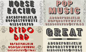 风格不一的英文字体设计矢量素材V09
