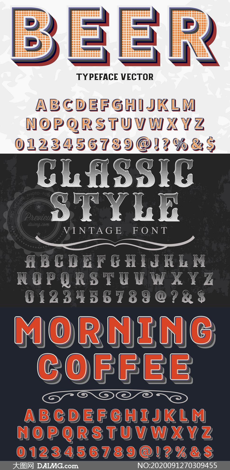 风格不一的英文字体设计矢量素材V10