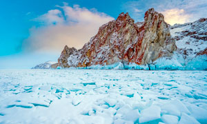 山下海边冰川景观高清摄影图片