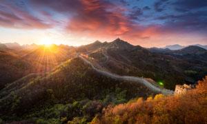 秋季早晨长城美景高清摄影图片
