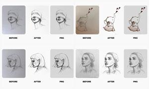 素描手稿抠图去背景特效PS动作