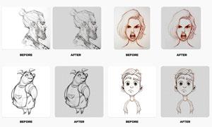 素描人像线稿抠图效果PS动作