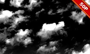 黑色与透明背景的白云叠加装饰素材