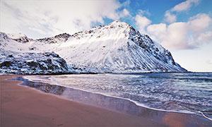 海边美丽的雪景高清摄影图片