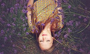 薰衣草花园中躺着的女孩摄影图片
