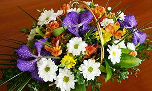 鲜花花篮特写高清摄影图片
