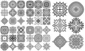 黑白幾何對稱圖案主題設計矢量素材